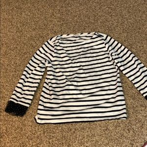 J Crew Factory M top with lace sleeve detail